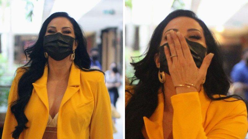 Com look ousado, Helen Ganzarolli é flagrada em shopping, dá show de simpatia e beleza impressiona