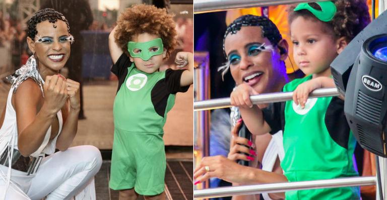 Fantasiado de Lanterna Verde, o pequeno Antônio encantou a multidão que estava concentrada no centro de São Paulo