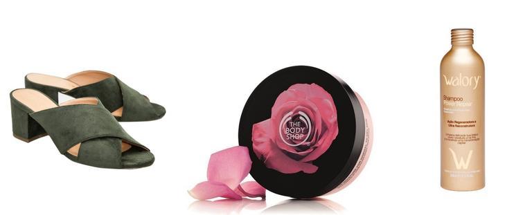1) Mule Salto Baixo Vicenza – R$ 300,00 / 2) Body Butter Rosas Inglesas – 200 ml – R$ 70,00 / 3) Shampoo Power Hydrate Walory - R$ 59,90