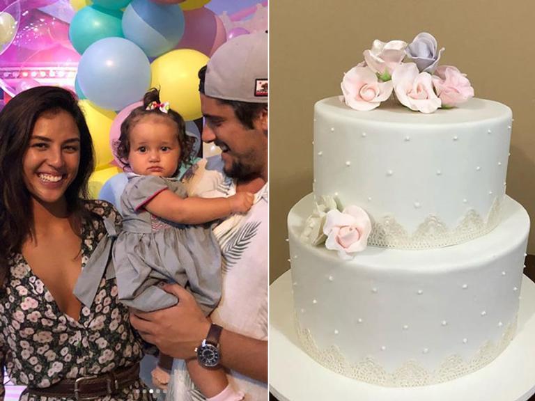 Bolo do batizado e aniversário de Madalena, filha de Yanna Lavigne e Bruno Gissoni