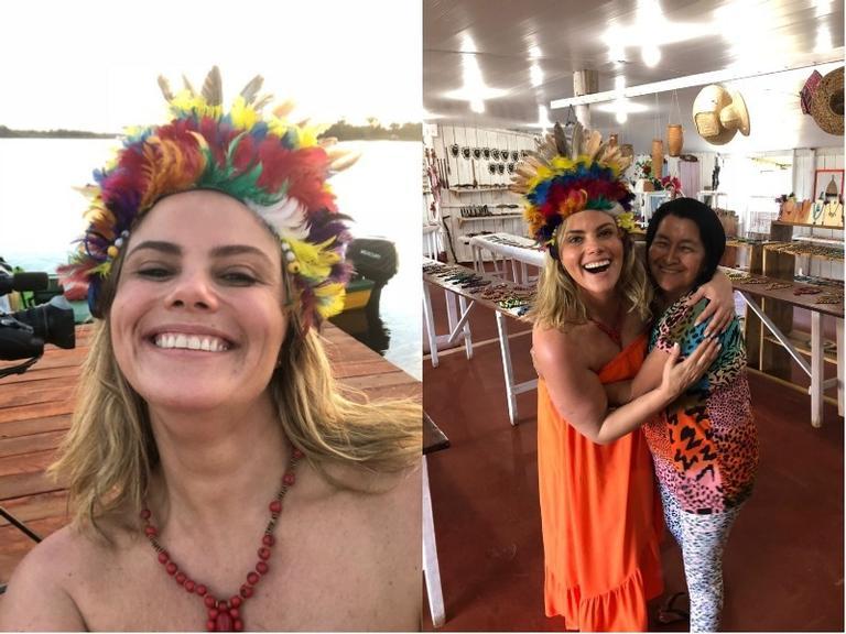 Maria Cândida tem dia de índio em viagem à Amazônia