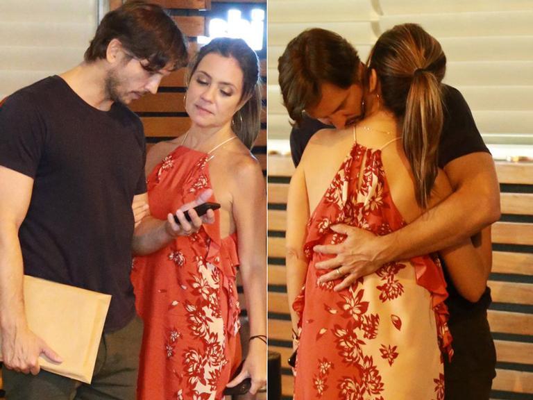 Adriana Esteves e Vladimir Brichta são flagrados trocando carinhos