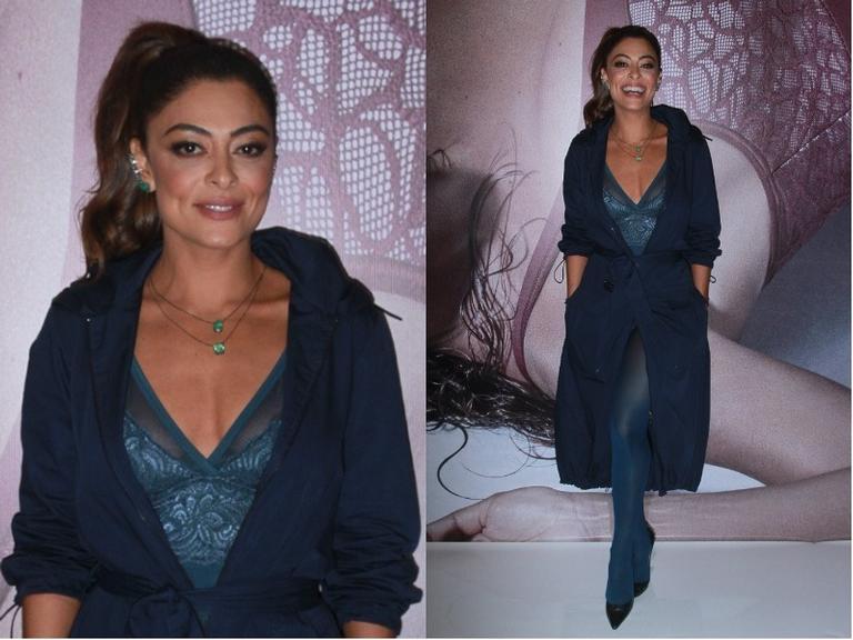 Com look ousado, Juliana Paes lança coleção de lingerie