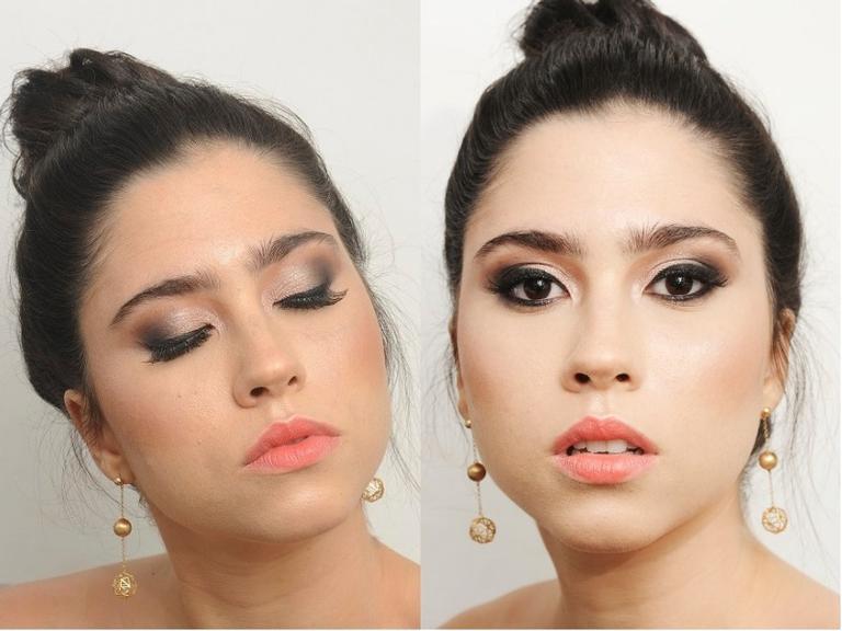 Olívia Torres ousa em maquiagem noturna