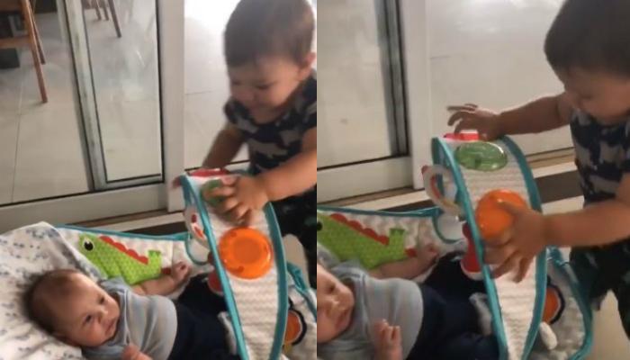 Fofura! Andressa Suita flagra Gabriel brincando junto com o irmãozinho