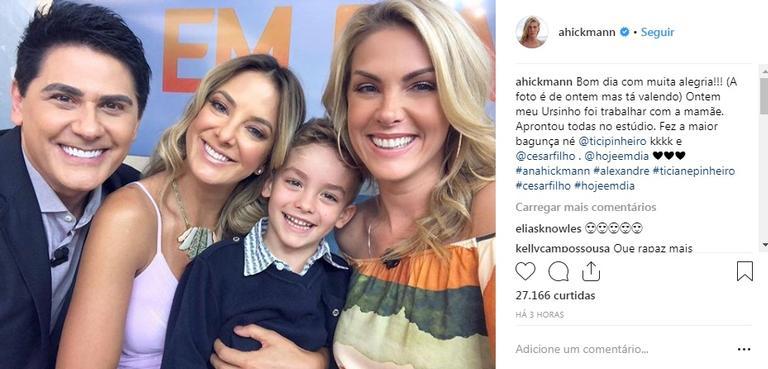 eb02f58e5d620 Ana Hickmann leva filho para bastidores do  Hoje Em Dia  e garoto se ...