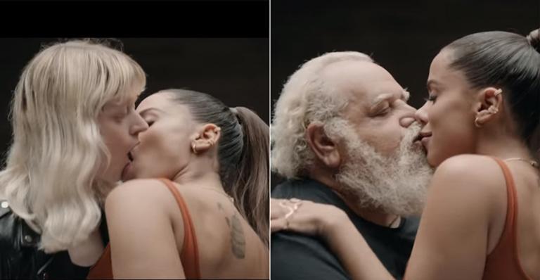 Cantora lançou três vídeos de uma vez e beijou homem, mulher, novos e maduros; veja