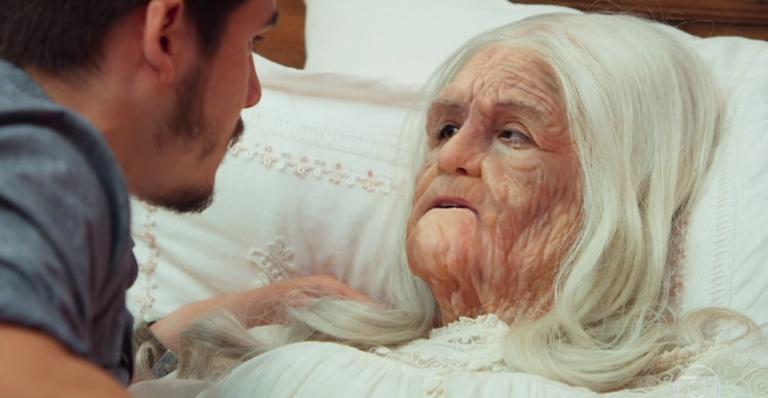 A maquiagem para envelhecer Marocas foi um dos pontos altos do episódio final