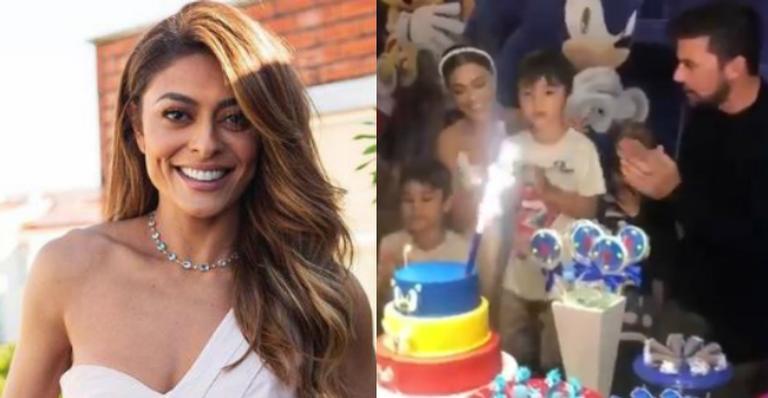 Juliana Paes faz festinha reservada para celebrar o aniversário do caçula