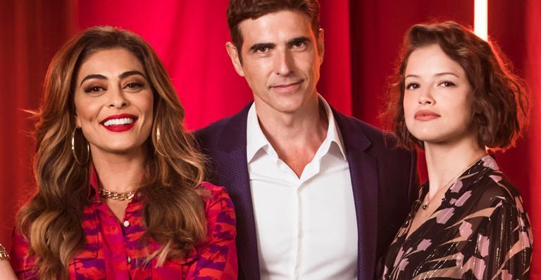 Juliana Paes, Reynaldo Gianecchini e Agatha Moreira em 'A Dona do Pedaço'