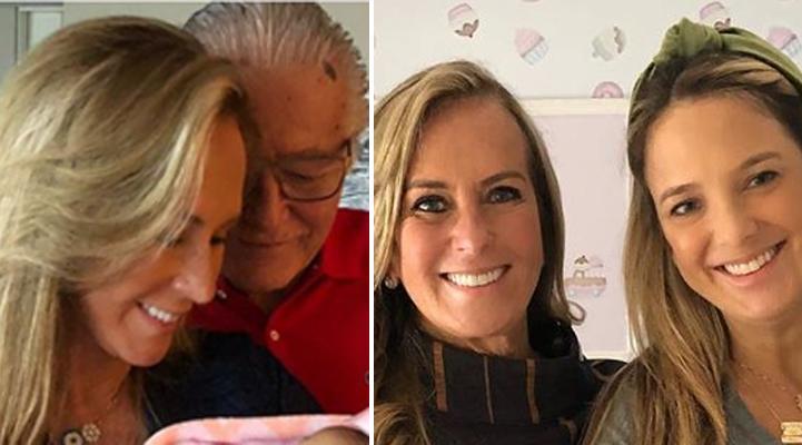 Mãe de Ticiane Pinheiro posou com a netinha no colo e derreteu web com sorriso da bebê