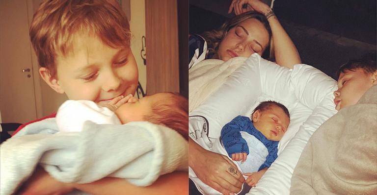 Davi Lucca, filho de Neymar Jr e Carol Dantas, fica com ciúmes do irmão caçula