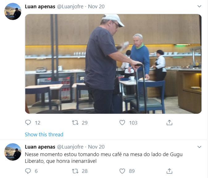 Fã fez foto de Gugu Liberato no aeroporto horas antes do acidente