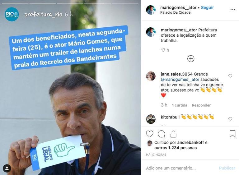 Ex-ator da Globo, Mário Gomes festeja licença para vender sanduíche na rua