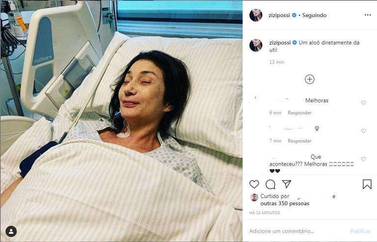 Zizi Possi aparece após cirurgia