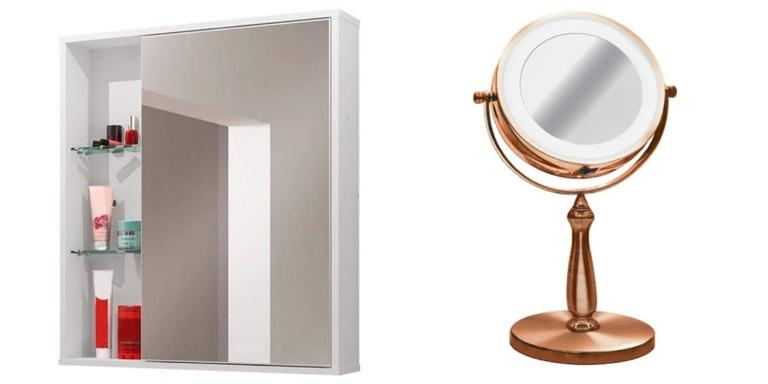 Armário, espelho e prateleiras super chiques para dar estilo ao ambiente