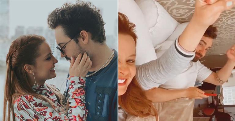 Com bom humor, a sertaneja comemorou ao lado do amado o primeiro aniversário de namoro