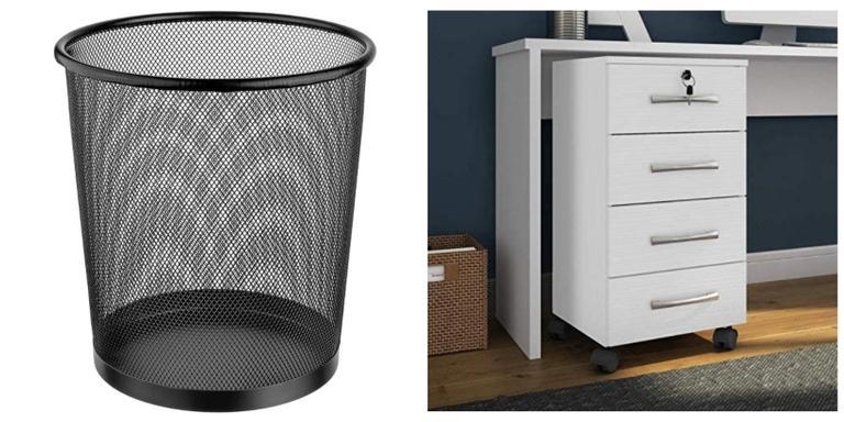 Lixeira, estante e organizadores super práticos e compactos para sua casa