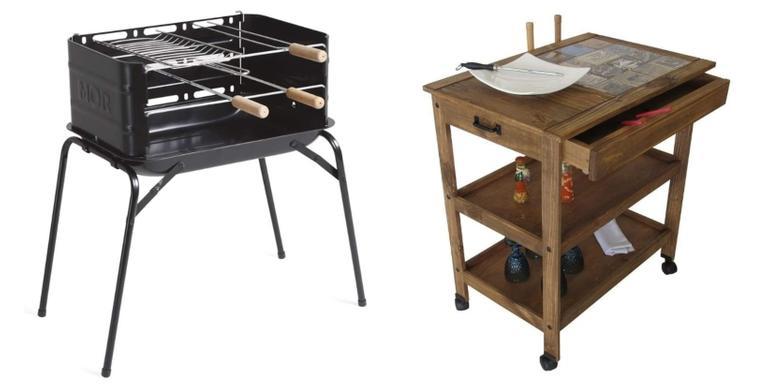 Churrasqueira, grelha e caixa térmica funcionais para um churrasco em família