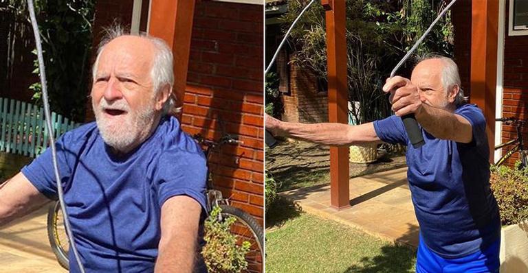 Nas redes, o ator de 87 anos esbanjou disposição ao seguir rotina fitness