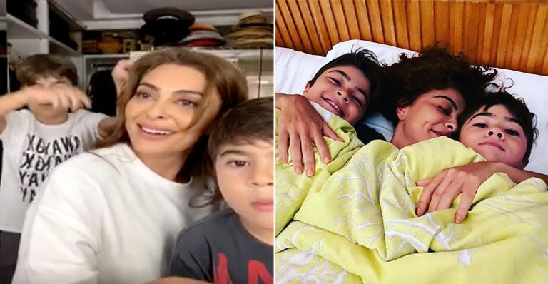 Em vídeo ao vivo, a atriz teve seus 'podres' expostos pelos filhos, Pedro e Antônio