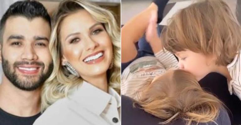 Esposa de Gusttavo Lima derreteu web com flagrante especial entre os pequenos