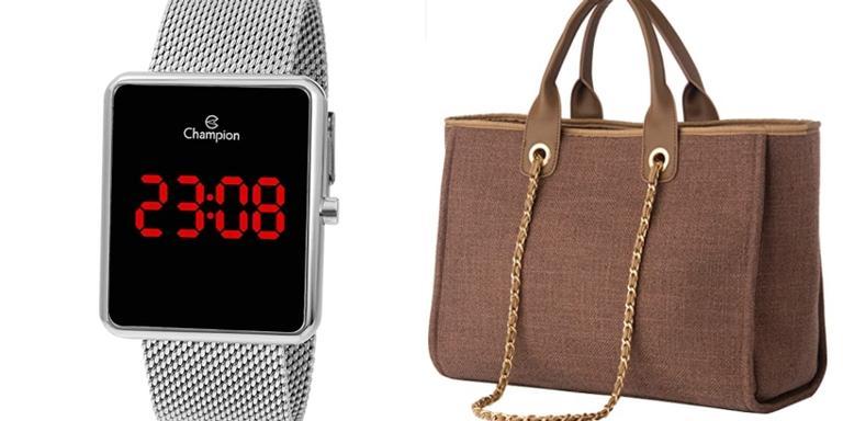 Bolsa, tênis e relógios super charmosos e com ótimos descontos