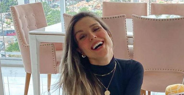 Ela registrou sorrisão e seriedade de seu filho com Marcelo Zangrandi em brincadeira de expectativa vs. realidade