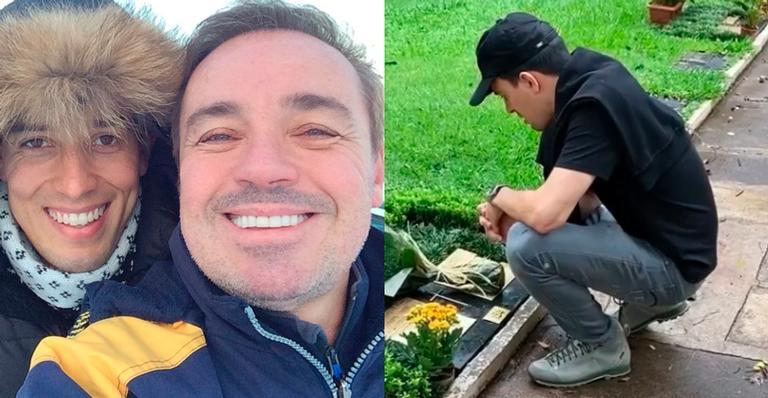 Thiago Salvático levou flores ao cemitério e falou sobre as saudades; assista