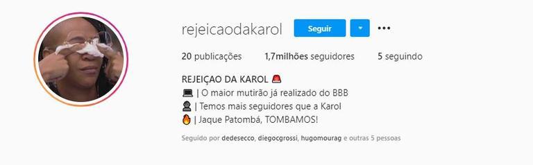 Perfil @rejeicaodakarol no Instagram: 1,7 milhões de seguidores. (Foto: Reprodução)