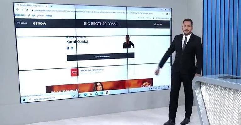 Enquanto apresentava o 'RJTV', Alexandre Kapiche fez questão de fazer campanha contra a rapper